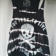 """Urban outfitters tie-dye tank ✅ NWOT because purchased online, never worn, no flaws ✅ """"Too fast to live, too young to die"""" ✅ Skull, tie-dye ❌ NO holds, rude comments, lowballs, time wasters, etc.  ‼️YOU WILL BE BLOCKED ♻️I only trade for wishlist items  ♻️Trade value: 40.00$ 🔺I ONLY negotiate through the 'make an offer' button🔻 Urban Outfitters Tops Tank Tops"""