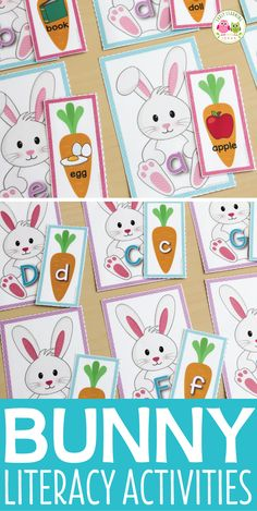 Easter bunny alphabet and beginning sound activity.  Easily differentiated with many alphabet matching activity and phonics matching cards.  Perfect for your Easter theme, Spring theme, bunny theme, pets them units and lesson plans in preschool, pre-k and kindergarten.  Literacy centers, literacy station, ELA center