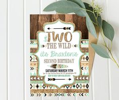 These Mint and Gold Tribal TWO Wild Birthday Invites feature an easy to use self-edit file of the CUTEST party theme of the year, so you can host a darling Boys 2nd Second Birthday Party, simply and beautifully ( and INSTANTLY)!  ►►INSTANT DOWNLOAD!! EDIT WITH LATEST VERSION OF ADOBE READER!! PRINT AT HOME!!  **Want to save a few dollars?? I have the ENTIRE printable decorations collection (which includes the invitations) Get it here: http://etsy.me/2o6IlbN   I also have this f...