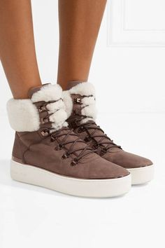 5e2a461430 MICHAEL Michael Kors - Kyle Shearling-trimmed Suede Ankle Boots - Chocolate  Purple Ankle Boots