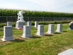 We were commissioned by a local customer who wanted 14 matching monuments created for a family plot in Iowa. The final design along the top of each piece links each separate memorial to the others. (Schlitzberger and Daughters Monument Co., Inc.) www.pinterest.com/schlitzberger