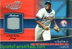 2002 Playoff Piece OF The Game Materials Silver #89 Vladimir Guerrero Gray Jersey card #'d to 100