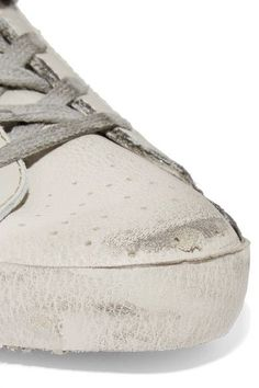 Golden Goose Deluxe Brand - Super Star Distressed Leather-paneled Glittered Mesh Sneakers - Off-white