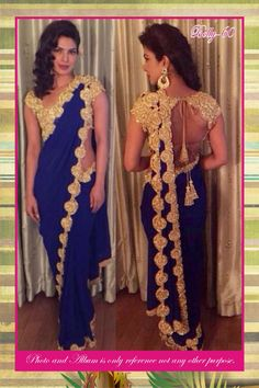 Blue Heavy Georgette With Stud Work Saree At Aimdeals.com