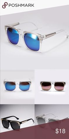 NEW✨ Silver with Blue Glass stained Sunnies😍 The popular Sunnies are back in stock but with a Silver and White Clear Frame along with Blue Glass- AMAZING🙌🏼 must have✨ HIGH QUALITY😍 Accessories Sunglasses