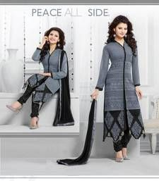 Buy grey embroidered georgette semi stitched salwar with duptta party-wear-salwar-kameez online