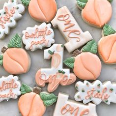 First Birthday Cookies, 1st Birthday Party For Girls, First Birthday Themes, First Birthdays, Birthday Ideas, Baby Birthday, Peach Cookies, Sugar Cookies, Peach Baby Shower