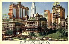 1949 - São Paulo - Vale do Anhangabaú e Prédios do Centro - Postal - Acervo Felipe A. Herculano