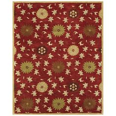 Bashian Ipswich Rectangular Red Floral Tufted Wool Area Rug (Common: 9-ft x 12-ft; Actual: 8.5-ft x 11.5-ft)