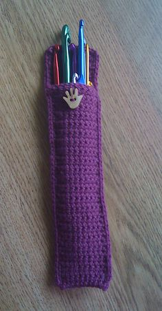 "A pinner says ""Made one of these about 30 years ago and still have it! So very handy and keeps my crochet hooks all in one place!"""