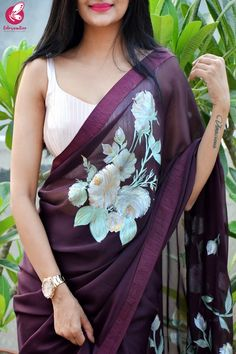 Buy Wine Hand-painted Silk Chiffon Dupion Silk Taping Saree Online in India Saree Jacket Designs, Saree Blouse Neck Designs, Bridal Blouse Designs, Hand Painted Sarees, Hand Painted Fabric, Painted Silk, Satin Saree, Chiffon Saree, Silk Chiffon