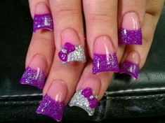 Dark pink sparkle French tip with silver sparkle accent nail and bows wide nails/duck nails/pink and white Acrylic Nail Tips, Acrylic Nail Shapes, Acrylic Nail Designs, Pink Manicure, Purple Nails, Sparkly Nails, Purple Glitter, Matte Nails, Silver Glitter