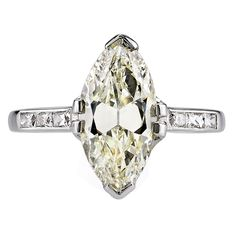 2.77 Carat Moval Marquise Cut Diamond Platinum Engagement Ring