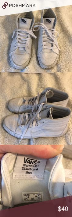 Vans Sk8-Hi All White Worn twice. A little dirty, I'll try to clean them up the best I can. Women's 9/Men's 7.5 Vans Shoes Athletic Shoes