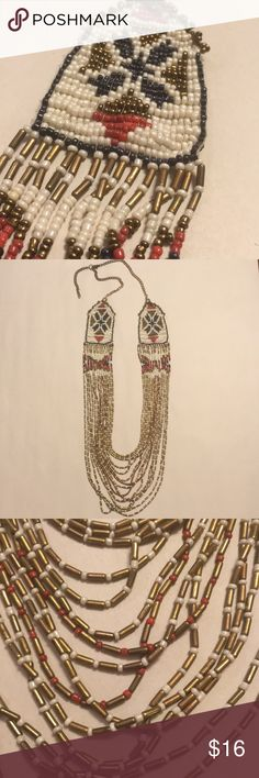 """Beaded statement necklace multi color Hangs up to 21.5"""" long. Shortest length is 19"""". Red, navy, gold, white Jewelry Necklaces"""