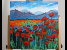 (51) Art Lesson: How to Paint a Field of Poppies with Studio Acrylic - YouTube