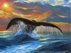 Whales Tail Sunset - oil painting by ©Phil Cusumano (via FineArtAmerica)