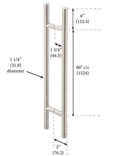"""Counterpoint 60"""" c/c Double Pull 1 1/4"""" Diameter - Master Shower Door Pull (?)"""