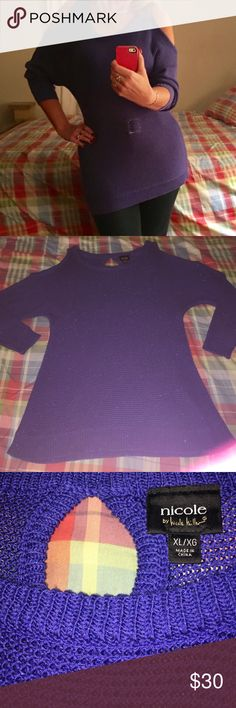 Adorable Royal Blue 'Cold Shoulder' Sweater So cute and sexy! Beautiful royal blue shade with some subtle sparkle. Perfect for a night out or the upcoming holidays. Excellent condition, only worn once. Check out my other listings to bundle and save 25% 😎! Nicole by Nicole Miller Sweaters