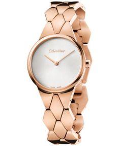 Calvin Klein Women's Swiss Snake Rose Gold-Tone PVD Stainless Steel Bracelet…