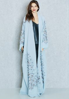 Shop blue Embroidered Trim Bisht from Hayas Closet blue at Namshi.com - Women in Saudi