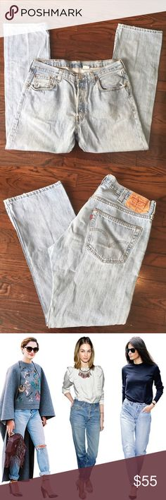 "Levi's 501 vintage high waist light wash mom jeans Button fly Tagged 36x32. About 18"" flat waist, 31"" inseam. Look cute rolled or with rough hem. Rise is 12"". Please use measurements :) Levi's Jeans"