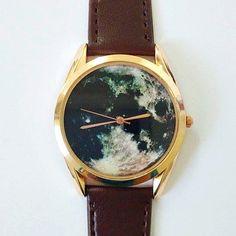 Mond-Watch Vintage-Stil Leder Uhren Frauen Uhren von FreeForme