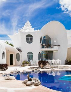 You won't ever want to stay in a hotel after you see these listings: Seashell house in Isla Mujeres, Mexico