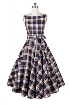 Belted Blue Plaid Vintage Dress