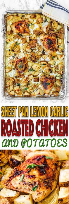 This Sheet Pan Lemon Garlic Roasted Chicken and Potatoes is incredibly simple but seriously scrumptious! The perfect the answer to hectic weeknights. Roasted Chicken And Potatoes, Lemon Garlic Chicken, Gluten Free Recipes For Dinner, Dinner Recipes, Dinner Ideas, Potato Recipes, Chicken Recipes, Recipe Chicken, Sheetpan Chicken