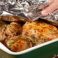 """One Pan """"Don't Peek"""" Chicken - oven recipe - (chicken, rice, cream of mushroom soup, cream of celery soup, onion soup mix, water, garlic, parsley, Worcestershire sauce, paprika)"""