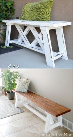 21 Gorgeous Easy DIY Benches ( Beginner Friendly Tutorials for Indoors & Outdoors!) 21 beautiful DIY benches for every room. Great tutorials on how to build benches easily out of wood, concrete blocks, or even old headboards and dressers. Diy Wood Projects, Furniture Projects, Wood Furniture, Diy Furniture Table, Diy Table, Furniture Design, Old Headboard, Headboards, Concrete Wood