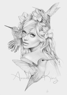 """#NEW beauty illustration entitled """"Hummingbirdess"""" Now up for sale in my shop! - http://annabellesillustrations.bigcartel.com/ Completed using pencil and digital colouring By Annabelle King"""