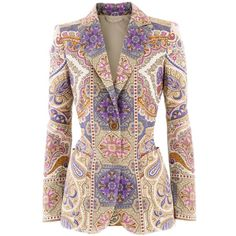 Etro Multi Colour Paisley Blazer (€1.298) ❤ liked on Polyvore featuring…