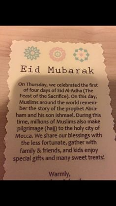 Eid Al Adha letter for classmates and neighbors to understand the holiday.