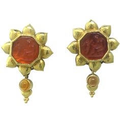 Elizabeth Locke Day and Night Intaglio Citrine Gold Earrings | From a unique collection of vintage more earrings at https://www.1stdibs.com/jewelry/earrings/more-earrings/