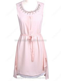 Pink Sleeveless Bead Belt High Low Chiffon Dress