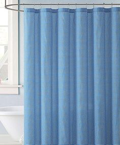 Blue Shower Curtains, Blue Gingham, Bathrooms, Sweet Home, Farmhouse, Bathroom, House Beautiful, Bath, Homesteads