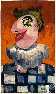 David Hockney. 'Clown'. Oil on canvas. pasted onto board. 1955.