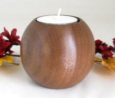 Sphere Candle Holder by DebsWoodshop on Etsy, $30.00