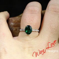 Emerald & Diamond Oval 3/4 Almost Eternity Round Bezel Leaf Engagement Ring, Custom-14k 18k White Rose Yellow Gold,platinum, WanLoveDesigns
