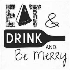 Eat, Drink, Be Merry Kitchen Modern Typography Black & White Canvas Art by Pied Piper Creative