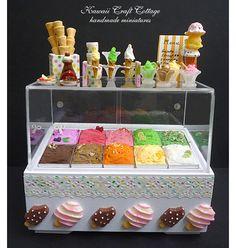 Gelato Ice Cream Sundae Parfait Shop by KawaiiCraftCottage Miniature Crafts, Miniature Food, Gelato Ice Cream, Tiny Food, Fake Food, Mini Craft, Doll Food, Wood Gifts, Polymer Clay Crafts