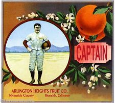 Riverside Arlington Captain Football Orange Citrus Fruit Crate Label Art Print
