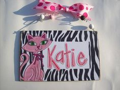 Hand personalized butterflies girly name room by pinkfishstudios