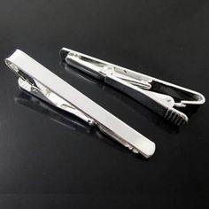 Men's White Steel Silver Simple Style Skinny Tie Clip - US$1.50