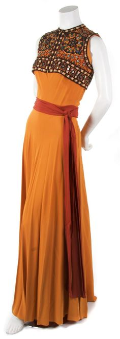 Orange silk gown, Germaine Monteil,  1930's.  With a matching embroidered cropped vest, red silk sash.