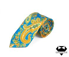 CRAVATA EXTRAVAGANTA BLUE GALBEN FLORAL GENT'S CLUB Club, Tie, Floral, Model, Accessories, Fashion, Moda, Scale Model