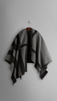 Check Wool and Cashmere Blanket Poncho