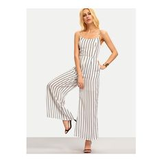 SheIn(sheinside) Black White Vertical Striped Spaghetti Strap Jumpsuit ($24) ❤ liked on Polyvore featuring jumpsuits, multi, striped jumpsuit, black white jumpsuit, white and black jumpsuit, black and white jumpsuit and jump suit